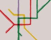 Milan Metro Map Gallery Wrap Canvas - 20x16