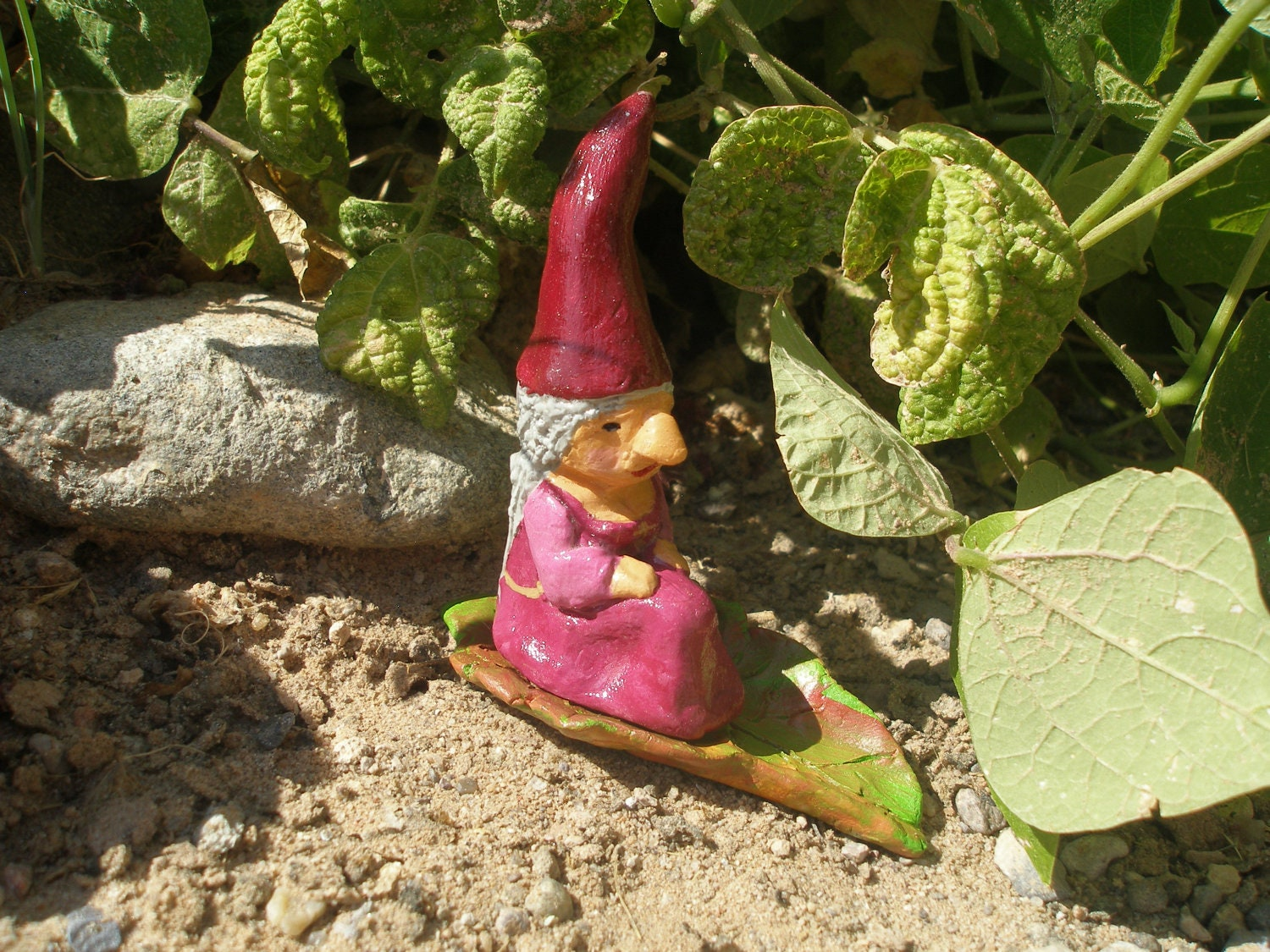 Garden Gnome Miniature Handmade Clay Female By Soapsandsewing