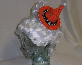 Witch Hat Fascinator- Orange and Black