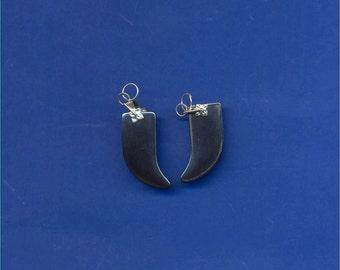 2 Hematite Tusk Beads, 27mm