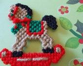 Plastic Canvas Christmas Rocking Horse Magnet