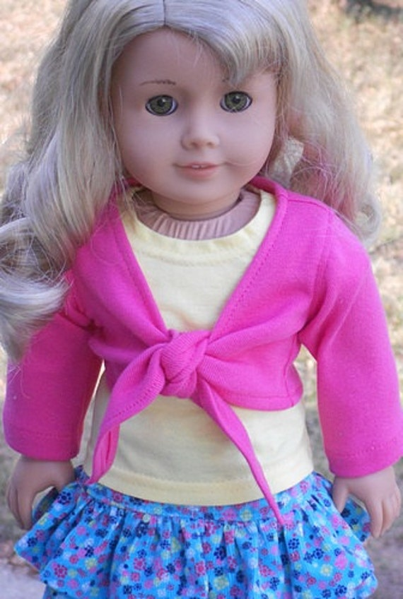 Corduroy Print Skirt, T-shirt & Wrap-Style Top For American Girl Or Similar 18-Inch Dolls