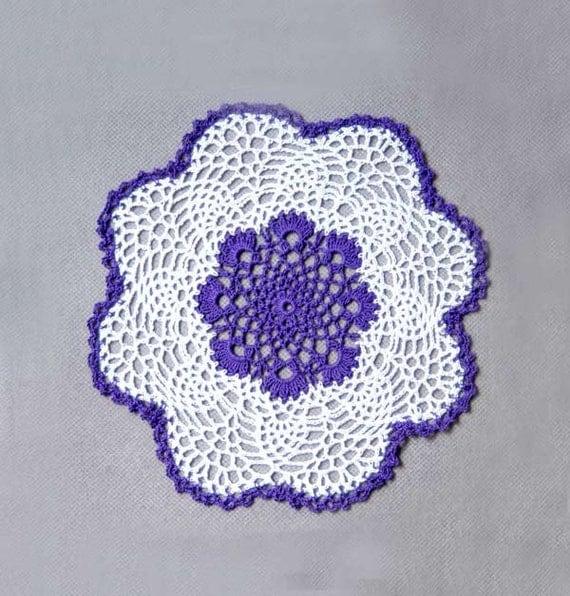 Purple Passion Crochet Lace Doily, Cottage Chic Home Decor, Fiber Art, Original Design by NutmegCottage