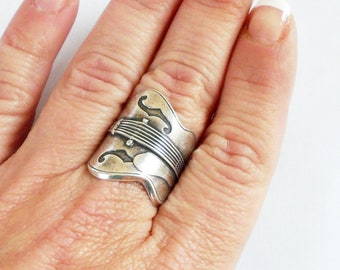 Steampunk Guitar Ring- Sterling Silver Ox Finish
