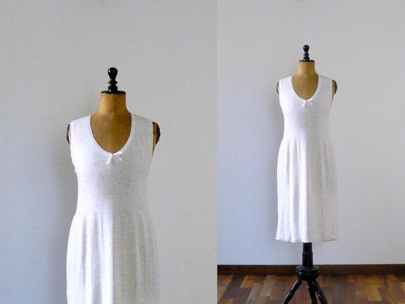 Vintage 1970s off-white wool nightie. night dress. lingerie