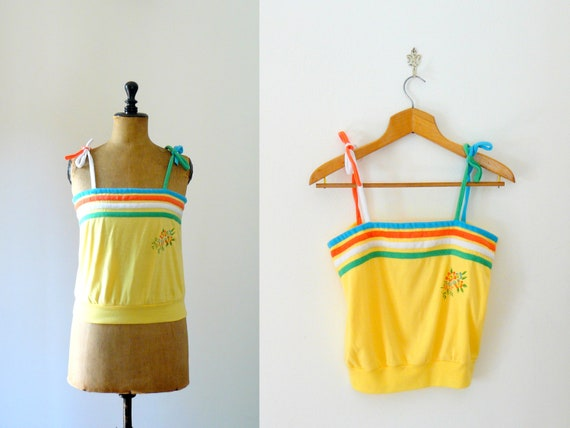 Vintage 1970s yellow top. Terry cloth tank top. Rainbow strappy top