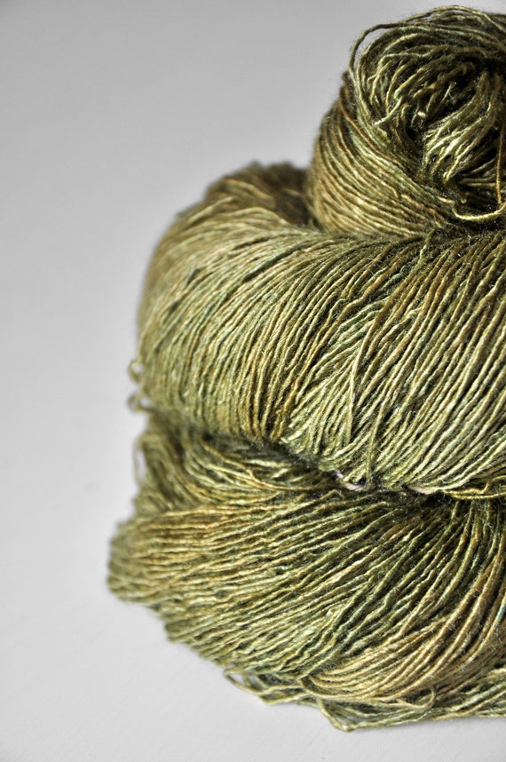 Withering moss - Tussah Silk Yarn Fingering weight