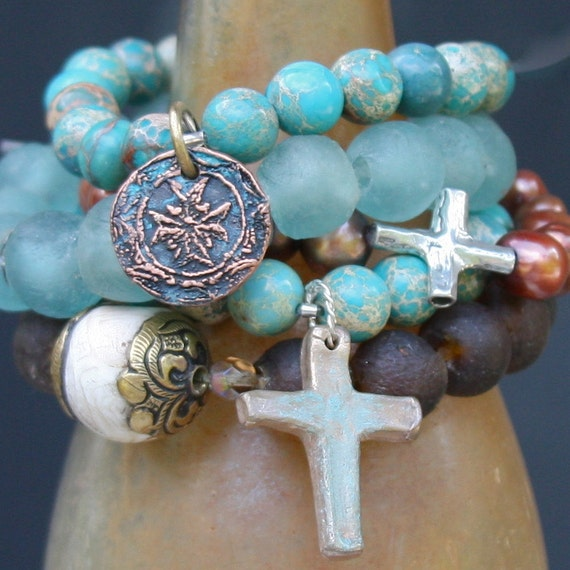 spiritual compass charm on blue variscite.....bracelet