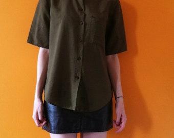 army green vintage box fit blouse ( m-l)