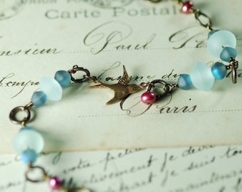 Bird Charm Bracelet Wire Wrapped Beaded Jewelry Vintaj Natural Brass Charm Bracelet Into the Blue Sky Mother's Day Bracelet Gifts Under 25