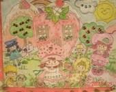 Strawberry Shortcake Wall Art 80's Vintage Style