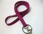 Cherry Cerise Skinny Lanyard ID Badge Holder - Key Strap