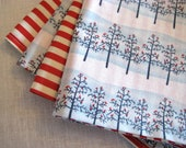 "Winter Holiday Napkins - Set of 4 Napkins - Reversible 16"" - Blue and Red Stripe - Holiday Gift - Hostess Gift - Secret Santa -Ready to Ship"