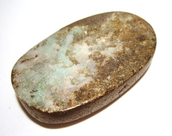 Boulder Opal Cabochon Australian Australia One of a Kind Handmade Organic Designer Oval Cut Large White Green red pinfire Ready for Jewelry