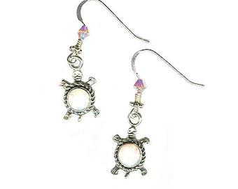 Sterling silver turtle white lab opal earrings lightweight small