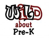 Wild about Pre-K 2 Color Embroidery Machine Applique Design 10644