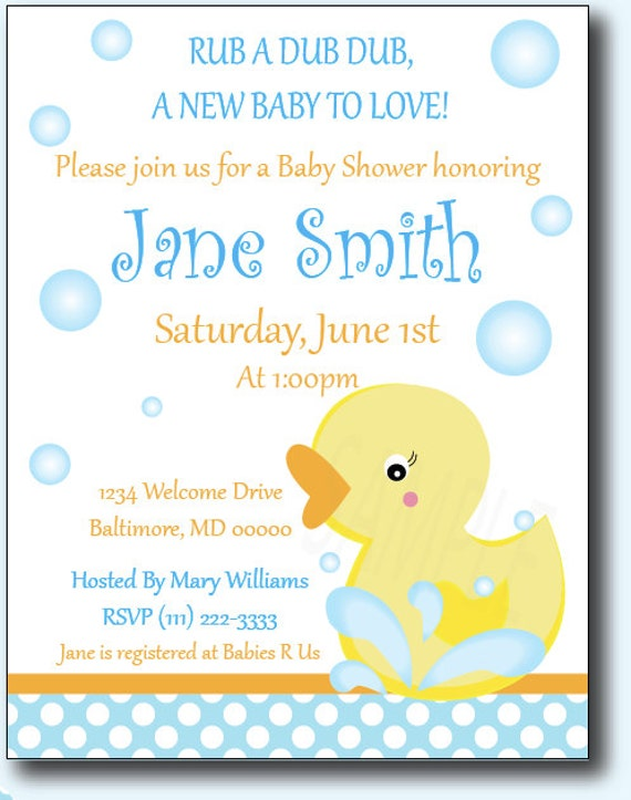 Rubber Ducky Baby Shower or Birthday Invitations
