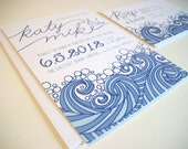 diy Printable, ocean beach nautical, Wedding Invitation set, Katy design