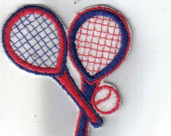 Red Blue Tennis Racket and Ball Retro Sport Vintage Sew on Patch Applique