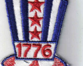 1776 Patriotic Hat Collectible Sew on Authentic Vintage Patch Applique