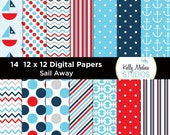 Sail Away - Designer Paper Pack - Digital Elements for Cards, Stationery, Backgrounds, Paper Crafts and Products