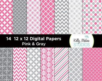010A Pink and Gray - Designer Paper Pack - Digital Elements for Cards, Stationery, Backgrounds, Paper Crafts and Products