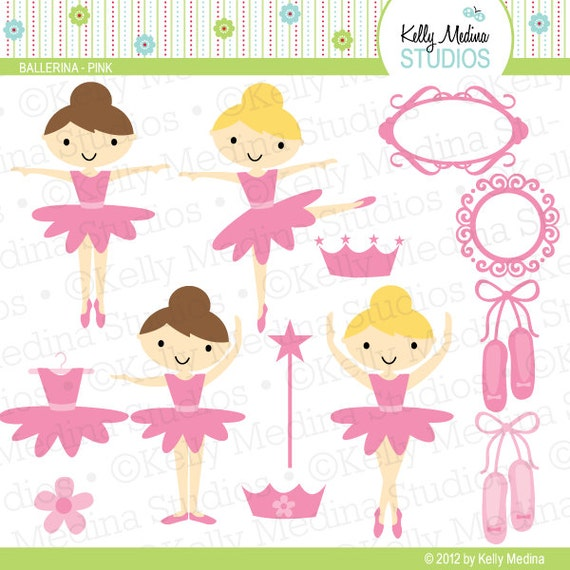 Ballerinas - Pink - Clip Art Set Digital Elements for Cards, Stationery and Paper Crafts and Products
