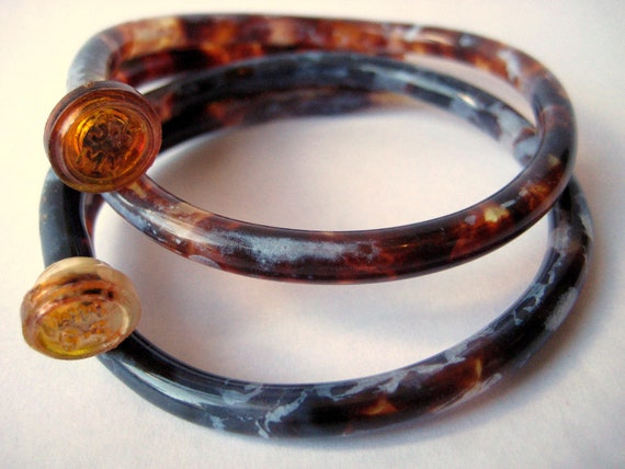 RESERVED for CynicalGirl     Recycled Knitting Needle Bracelets Tortoiseshell Pair SMALL/M