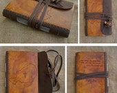 Custom Country Hand Tooled Engraved, Dyed and Stitched Leather Journal
