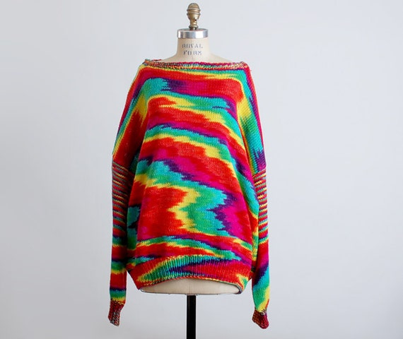 Vintage 80s Rainbow Dyed Knit Sweater