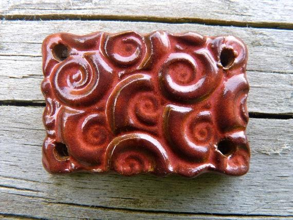 Pomegranate Red Bracelet Focal - Handmade Ceramic Wrist Focal Bead