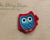 Turquoise and Red Owl No Slip Hair Clip