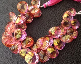 New Arrival, 11 Pieces strand, AAA Quality, Mystic PINK Quartz CONCAVE Cut Heart Shaped Briolettes,12-16mm, Great Price Item