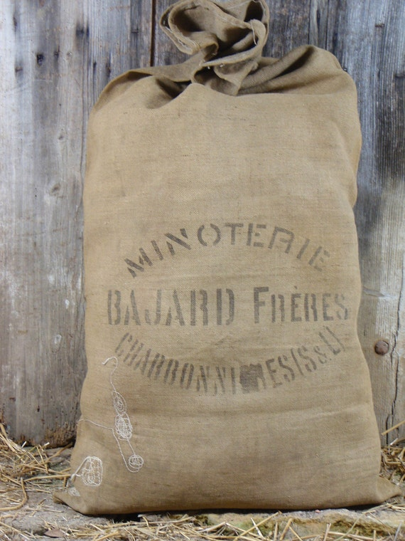 Burlap GRAIN SACK Flour Bag FRENCH rustic and authentic for upholstery or pillow cover