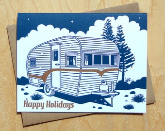 Handmade Letterpress Holiday Trailer Card