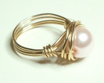 Baby Pink Gold Handmade Wire Wrapped Ring