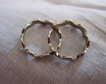 Vintage Pair of Silver Tone Band Rings by Avon