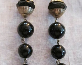 Vintage Gold Tone and Black Beaded Very Long Clip On Earrings