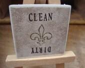 Fleur de Lis Clean Dirty Magnet for Dishwasher Saints - Customize Colors to Fit Your Home Kitchen Decor
