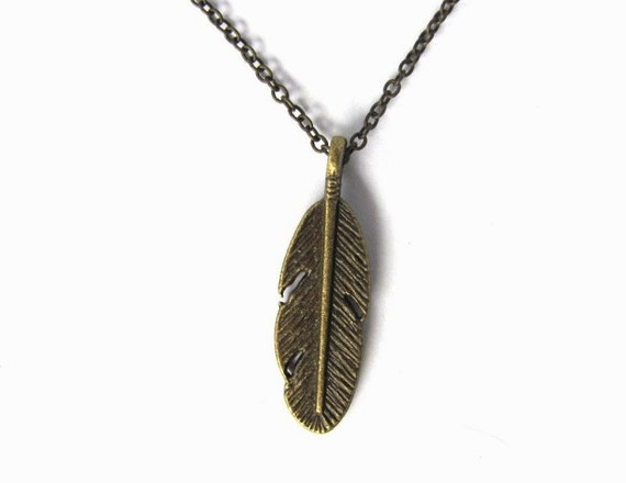 Feather Necklace Pendant  Bronze Feather Charm Brass Cable Chain Feather Jewelry by HendysHome