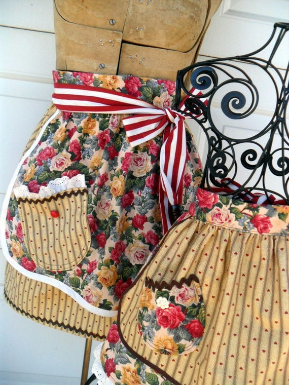 Mother Daughter Matching Half Apron Set Cottage Chic French Country
