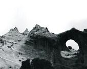 Southwest Landscape Original Fine Art Black and White Photograph - Window Rock - Navajo Canyon de Chelly Hand Printed Photo Charity Donation