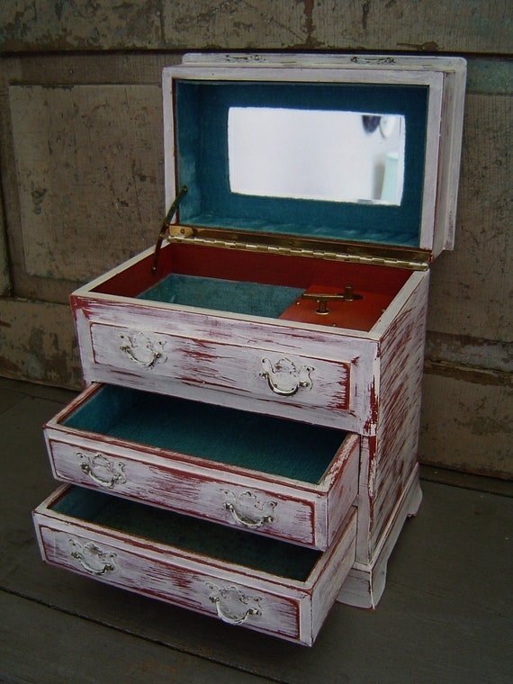 Jewelry Box Music Box White Distressed Wood Vintage Aqua Lining
