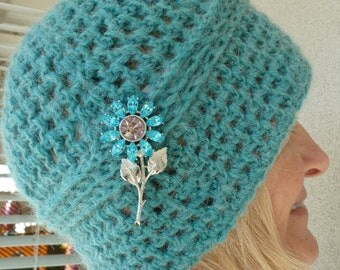 Women's Fashion / Women's Crochet Hat / Aqua  Winter Hat /  Designer Hat / Ski Accessories / Bohemian Clothing / Hats by Anne