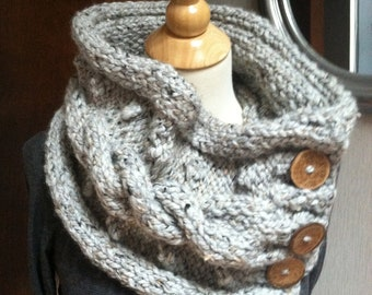 Soft Gray Knit Cable Button Cowl
