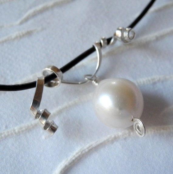 Leather Necklace Freshwater White Pearl  Argentium Sterling Silver Hand Made Jewelry