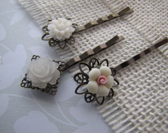 White . bobby pins . girls hair accessory . resin flowers