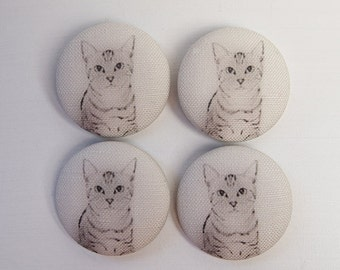 Sewing Buttons Covered In Linen Cat Print Fabric 1.49inch (38mm) Set of 4 Cat