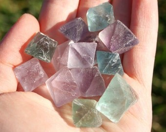 3 Fluorite Octahedron Crystals Green, Purple and Clear Stones