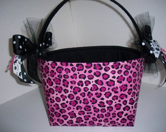 Pink Leopard Halloween Fabric Trick or Treat Bucket / Bag- Personalization Available